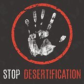 Vector illustration. Global problems of humanity. Stop  desertification