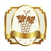 decorative gold frame label with grapevine