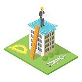 Vector isometric 3d illustration of city building with blueprint