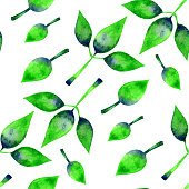 green leaves pattern. Hand painted organic seamless background.