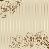 Decorative background with swirls and leaves.