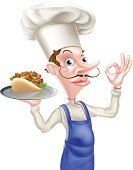 Cartoon Chef Holding Kebab Giving Perfect Sign