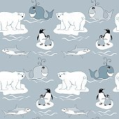 Polar Animals seamless pattern