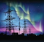 Aurora polaris. Northern lights and electric towers.