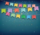 Festive flags with confetti. Garland, celebration party