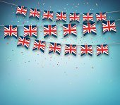 Flags of Great Britain, United Kingdom. Garland with British banners