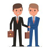 Businessmen shaking hands and smiling. Successful business negotiations