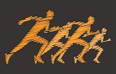 Gold hatching silhouettes of runners