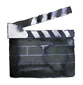 watercolor sketch of clapperboard on white background