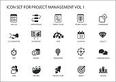 Project Management icon set. Various vector symbols for managing projects