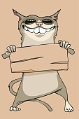 cartoon funny smiling cat holding a blank wooden sign