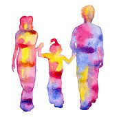 Family. Colored silhouette of people. Isolated on a white background.