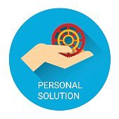 Personal Solution Business Man Hand With Cogwheel Icon