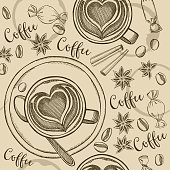 Coffee seamless pattern background.