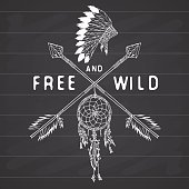Dreamcatcher, crossed arrows, tribal traditional headdress, Indian style Vector illustration