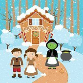 Fairy Tale Vector Scene with Hansel and Gretel, the Witch