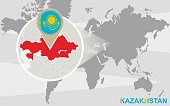 World map with magnified Kazakhstan. Raster illustration.
