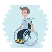Cartoon illustration of a boy in a wheelchair