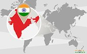 World map with magnified India. Raster illustration.