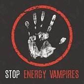 Vector illustration. Global problems of humanity. Stop energy vampires