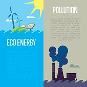 Eco energy and air pollution banners