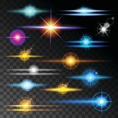 Realistic Reflections colorful collection items. Light effect Transparent background. Vector