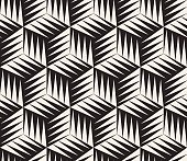 Vector Seamless Black and White Triangle Cubic Tiling Geometric Pattern