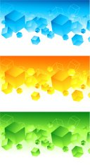 Set of abstract 3d colourful banners