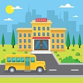 School Building Exterior Yellow Bus City View