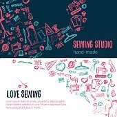 sewing studio doodle illustration. handicraft set of sie banners with