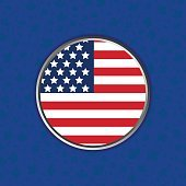 United States of America flag on blue background