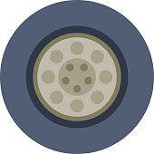Car wheel cartoon flat vector