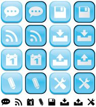 Internet blog buttons with pushed effect