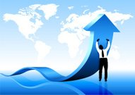 Young business man pushing arrow on world map background