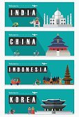 Flat design, Illustration of famous landmarks and icons.