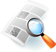 Icon of newspaper and lens