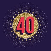 Forty years anniversary celebration logotype. 40th anniversary golden logo.