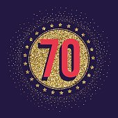 Seventy years anniversary celebration logotype. 70th anniversary golden logo.