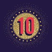 Ten years anniversary celebration logotype. 10th anniversary golden logo.