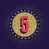 Five years anniversary celebration logotype. 5th anniversary golden logo.