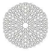 Round ornament for coloring books. Black, white pattern. Lace, snowflake