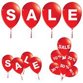 Red balloons with sale announcement. Balloons sale set.