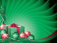 Green Red Christmas Present and Bauble Background