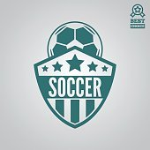 Vector logotype element, label, badge and silhouette for soccer or