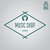 Vector logotype element, label, badge and silhouette for music shop