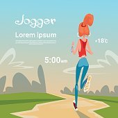 Sport Woman Run With Fitness Tracker On Wrist Girl Runner