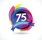 75th anniversary - abstract background with icons and elements