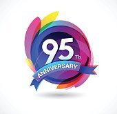 95th anniversary - abstract background with icons and elements