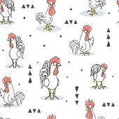 cock pattern seamless, animal illustration rooster background