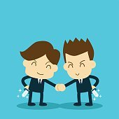 two businessman shake hand but hiding a knife